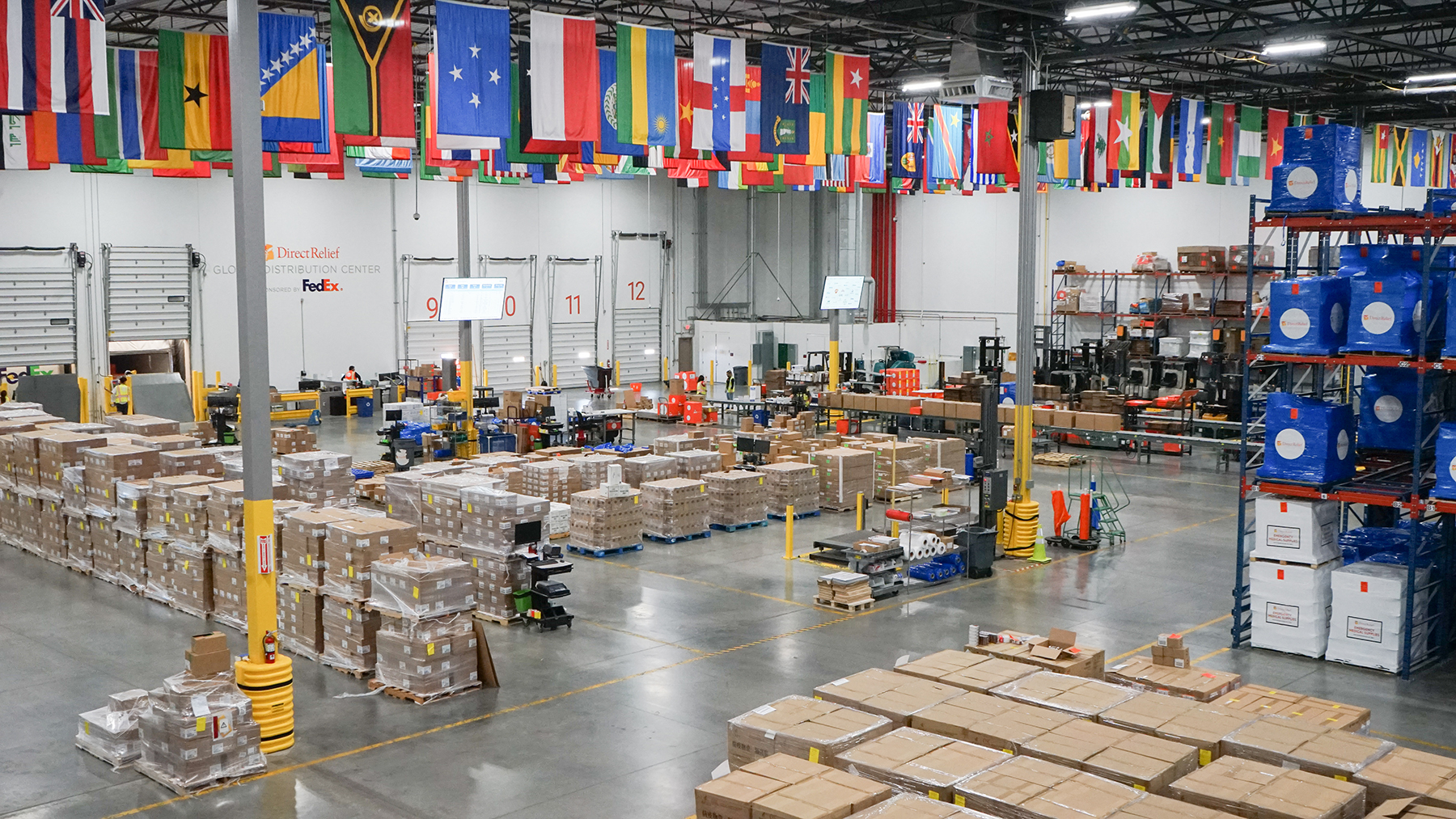 Shipments of medical aid depart Direct Relief's warehouse on August 30, 2021. The organization has committed inventory and funding for Hurricane Ida response as recovery continues. (Lara Cooper/Direct Relief)