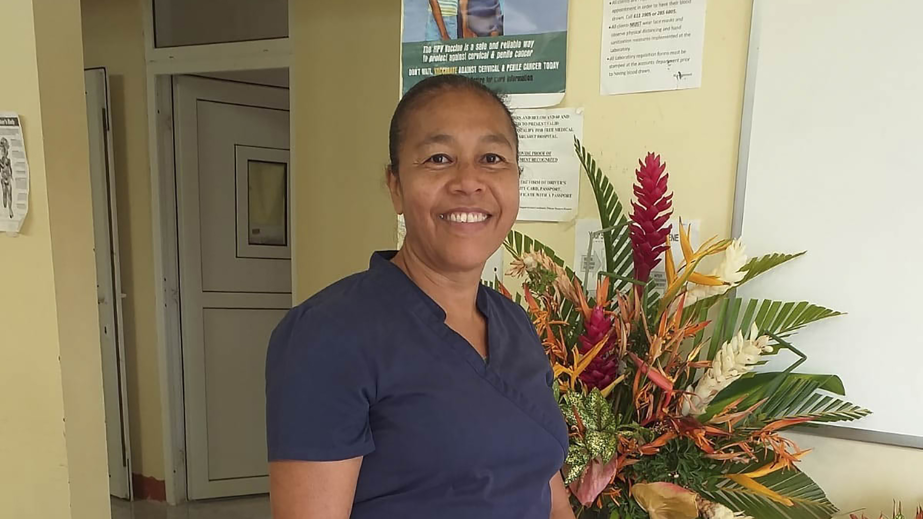 Nurse Joseph at the newly equipped and furnished Salybia Clinic in the Kalinago Territory of Dominica. (Photo courtesy of Medical Professionals on a Mission)