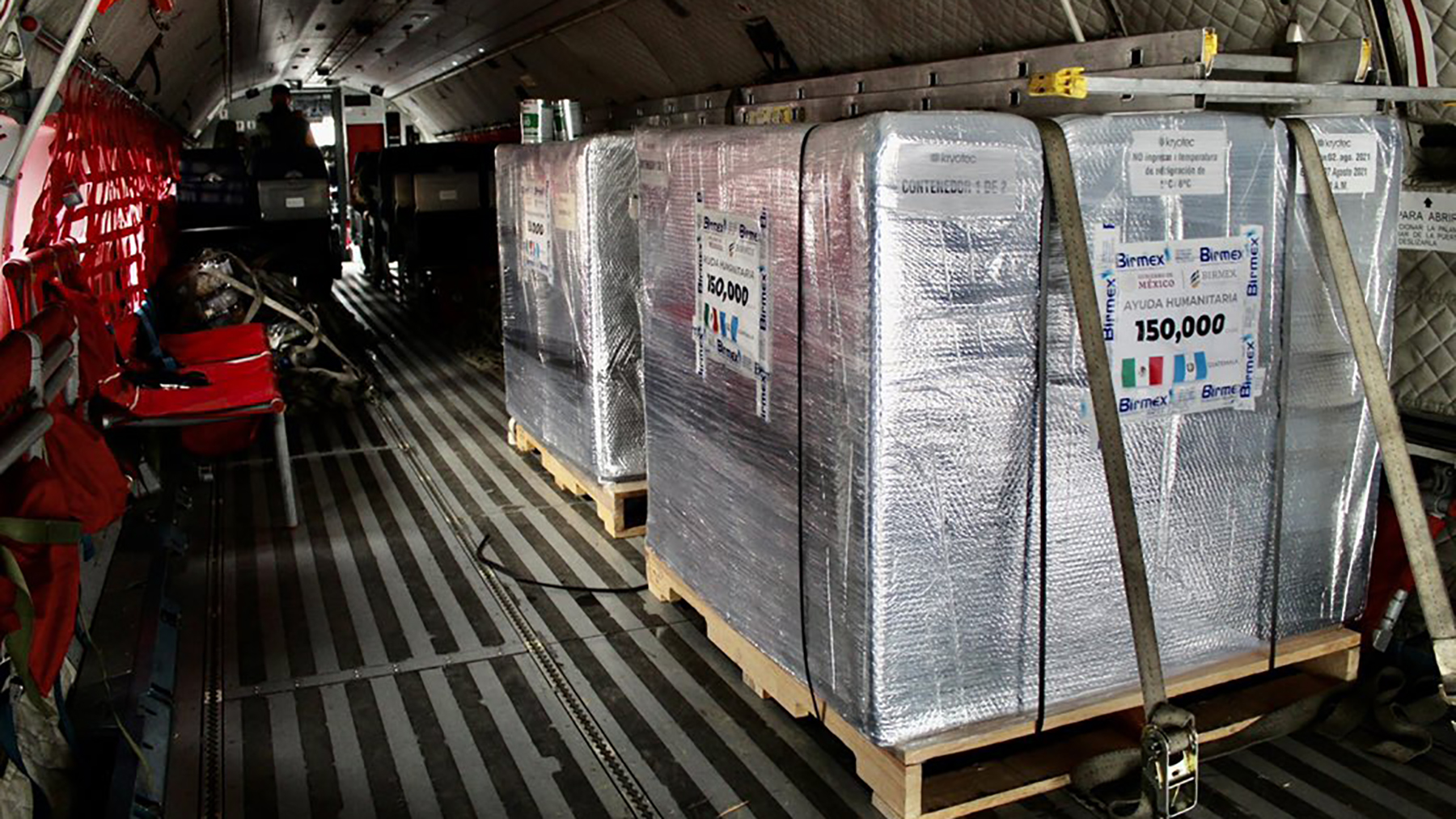 150,000 doses of AstraZeneca Covid-19 vaccines are delivered to Guatemala via the Mexican Air Force on August 3, 2021. The donation between the two governments was conducted with logistics support from Direct Relief.