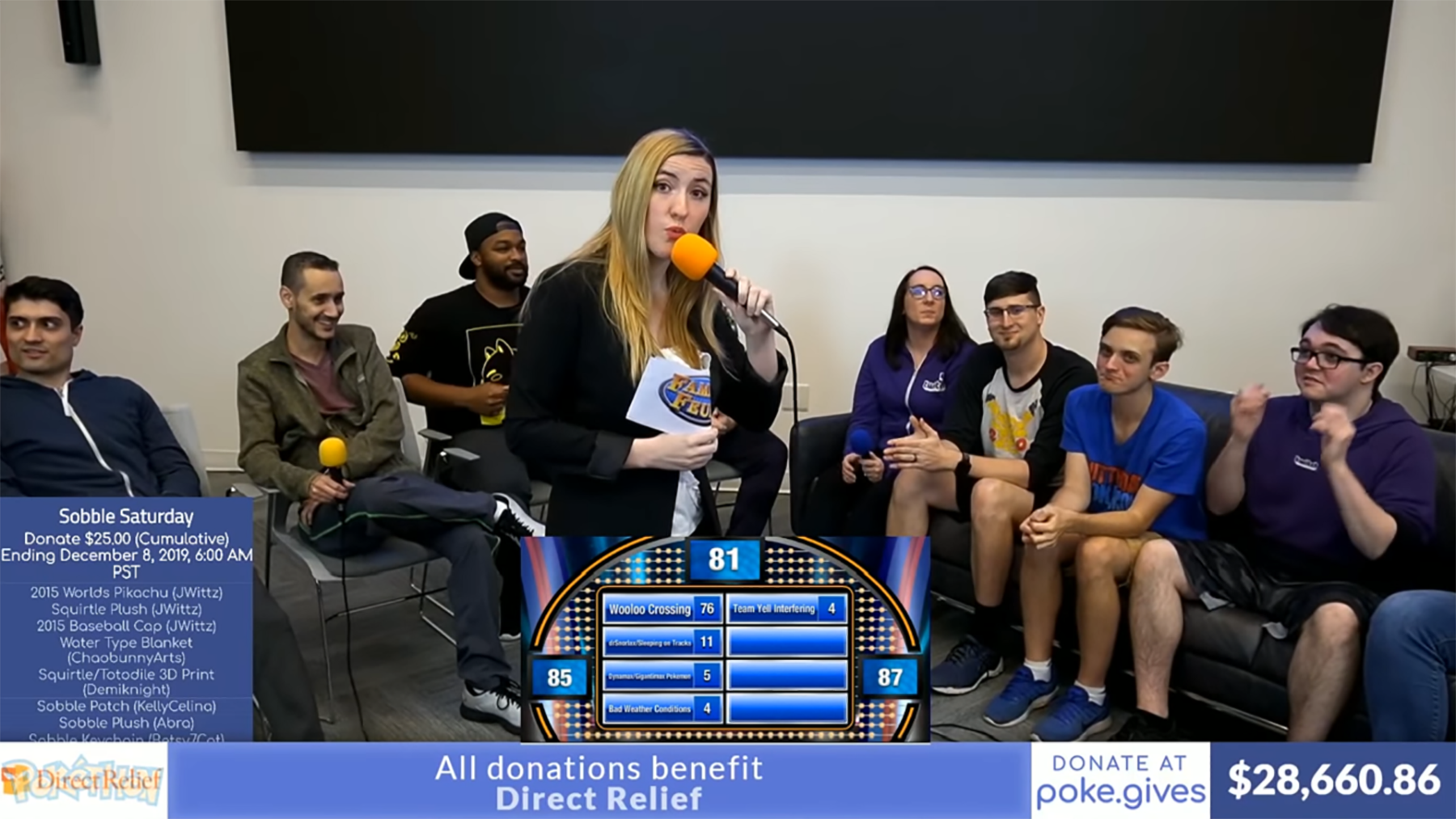 StephOfAnime (center) hosts a game show segment in the 2019 Pokéthon event that raised over $45,000 for Direct Relief.