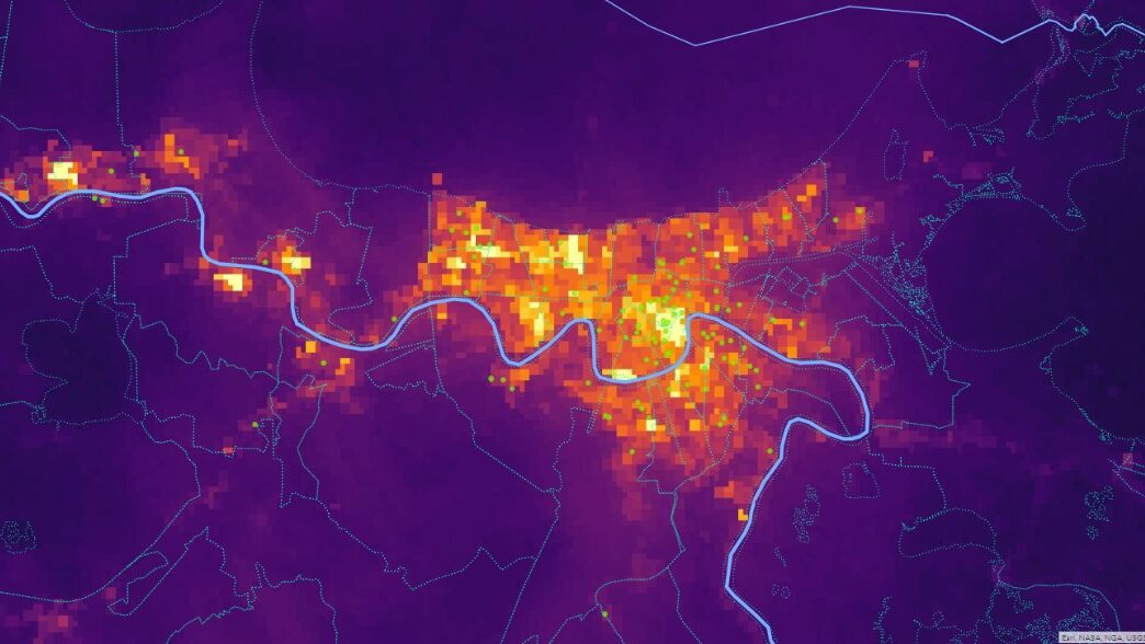 Baseline luminosity in and near New Orleans on August 25, 2021 with health center sites as circle points. Many portions of the map have gone dark since Ida swept through, and Direct Relief is working to provide health centers and free clinics with medical support and backup power options to continue patient care. (NASA Image/ Direct Relief analysis)