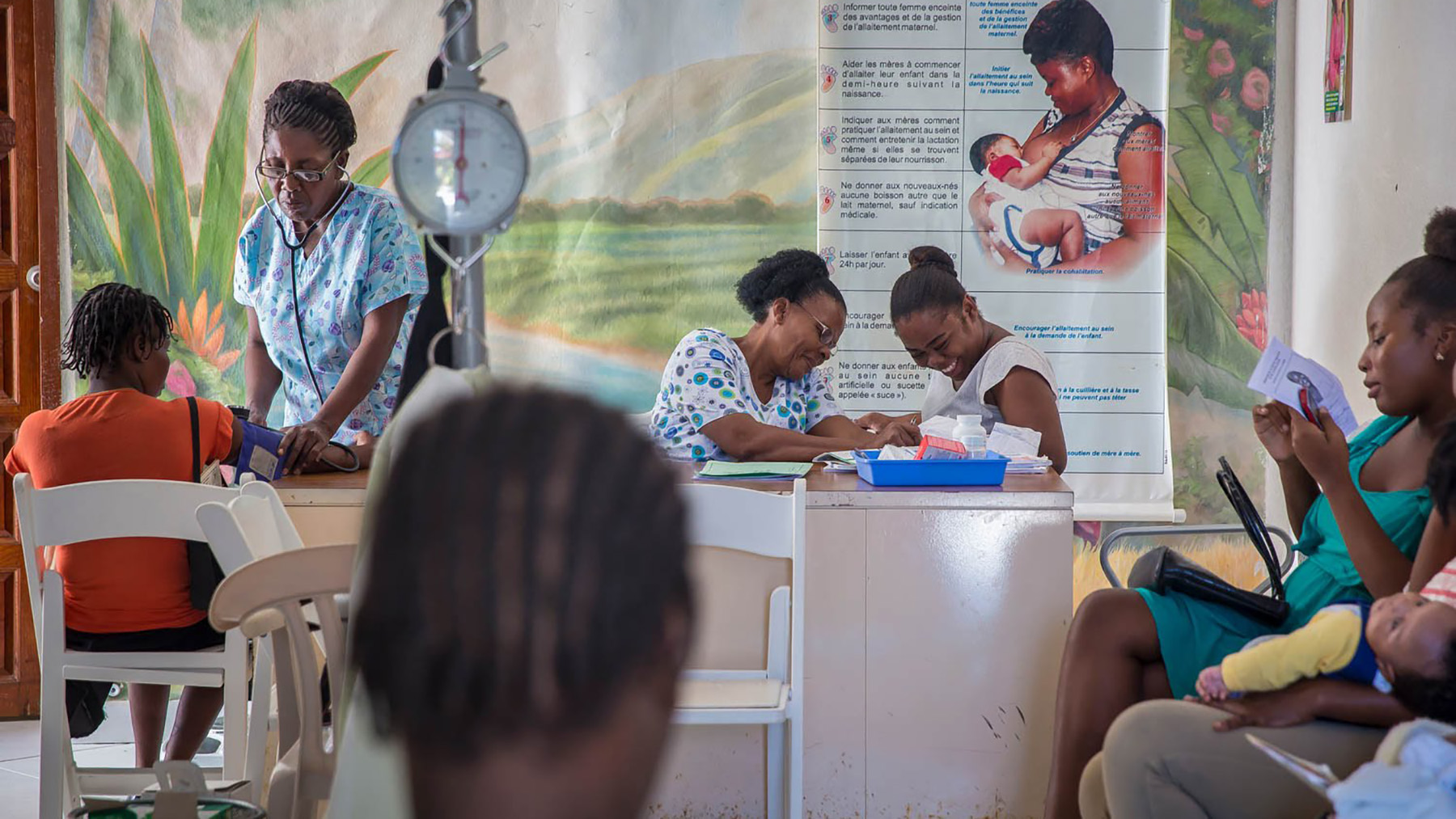 In this 2017 file photo, Maison de Naissance staff provide care for expectant mothers and newborns in Torbeck, Haiti.  After last month's 7.2-magnitude earthquake, clinic staff have been working to keep care continuous for area families that might otherwise not receive pre- or post-natal support. (Photo by Liam Storrings for Direct Relief)