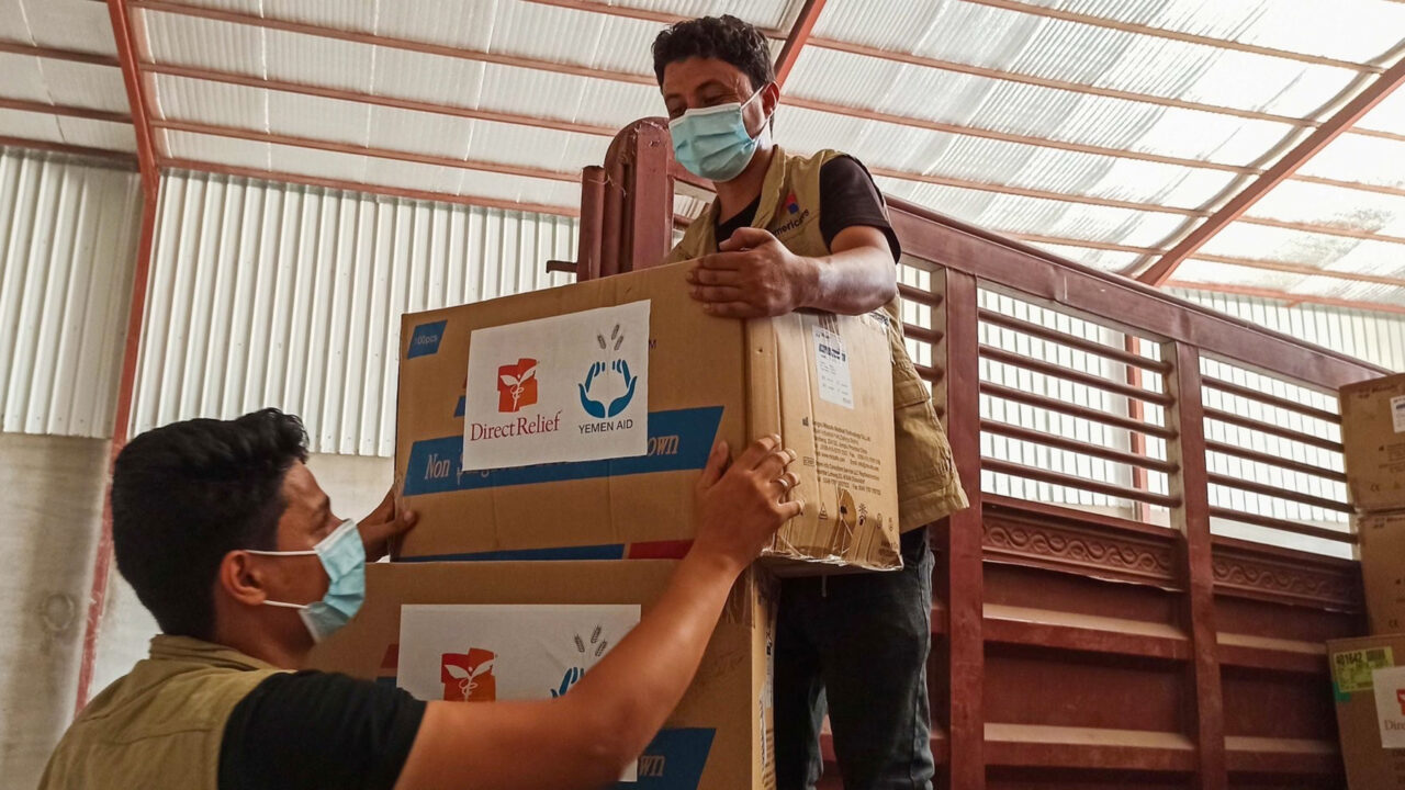 Direct Relief-donated medical aid arrives in Yemen and is distributed by YemenAid, which routed the supplies to seven hospitals in Abyan, Aden, Taiz, Mahra and Hadramout. (YemenAid photo)