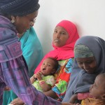Edna Adan (left) meets with patients.