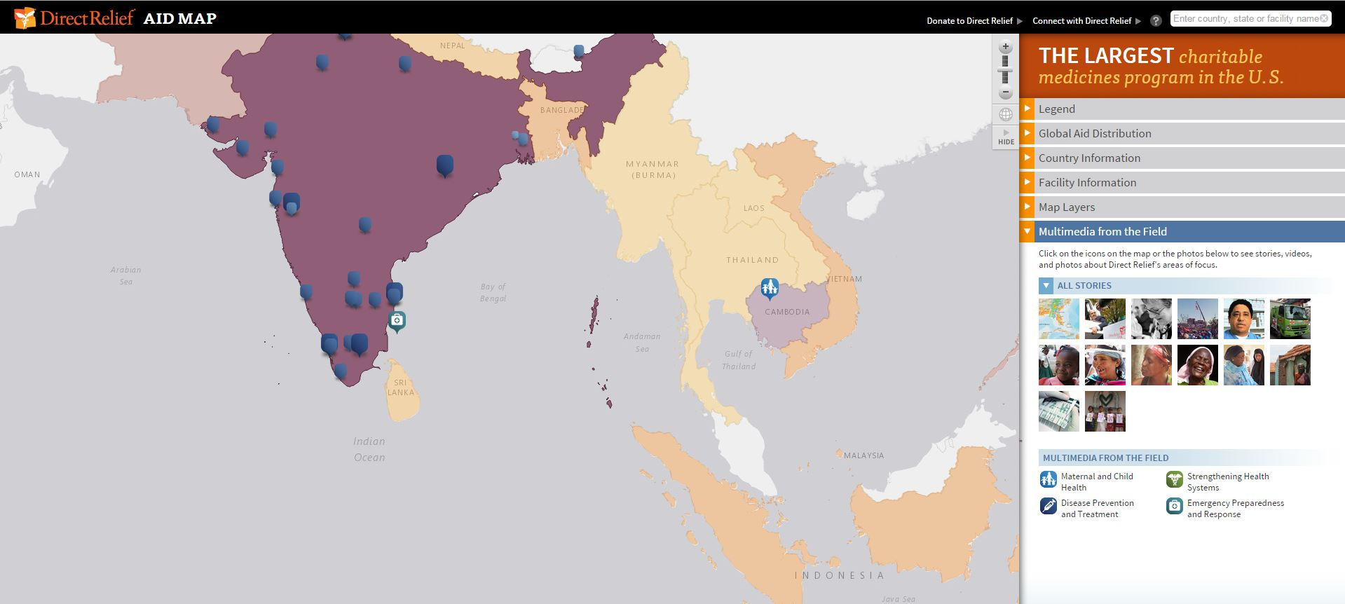 Aid map indonesia india sri lanka direct relief where the aid has gone 2004 tsunami gumiabroncs Choice Image