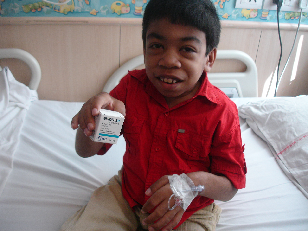 Arian with his Elaprase treatment for MPS II/Hunter syndrome. Courtesy photo.