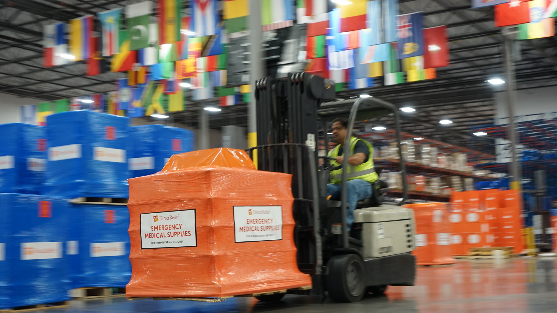 Direct Relief emergency medical aid on forklift
