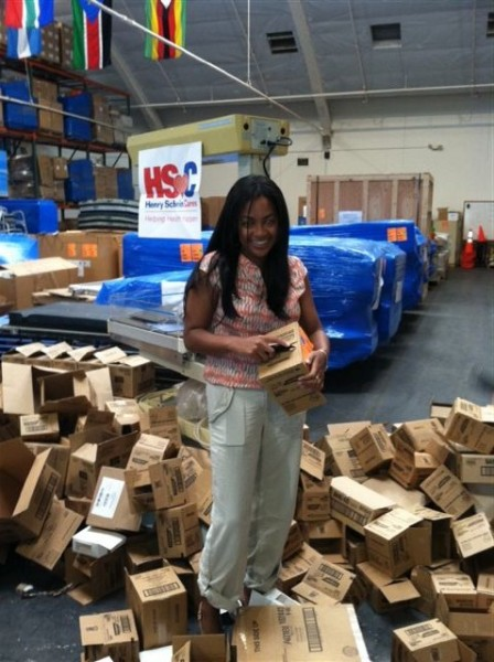 Carmen helping with one of our personal care pack events earlier this fall.