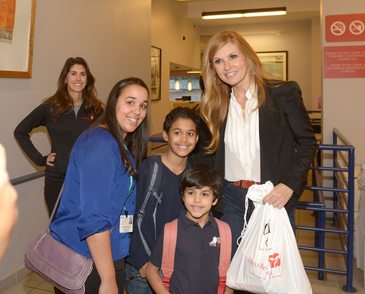 Connie Britton working with Curel Skincare and Direct Relief International to pass out relief Packages