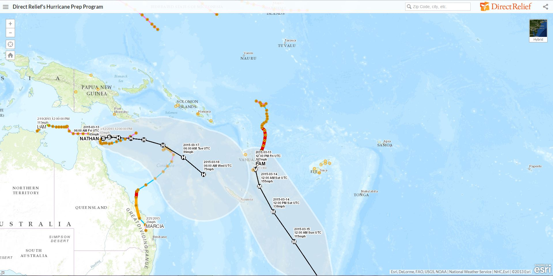 Tropical Cyclone Pam Monitored on Direct Relief Hurricane Map