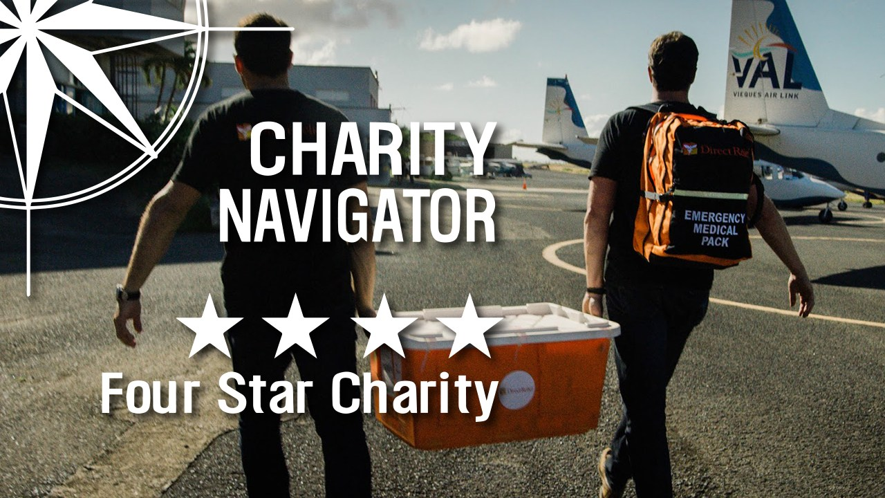 Charity Navigator - Top Charity Rating - Four Stars - Direct Relief