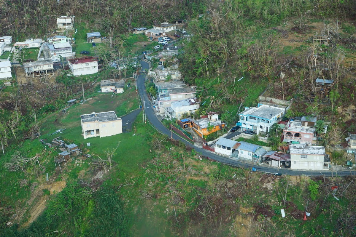 Hurricane damaged in the community of Orocovis as seen from above. (Lara Cooper/Direct Relief)