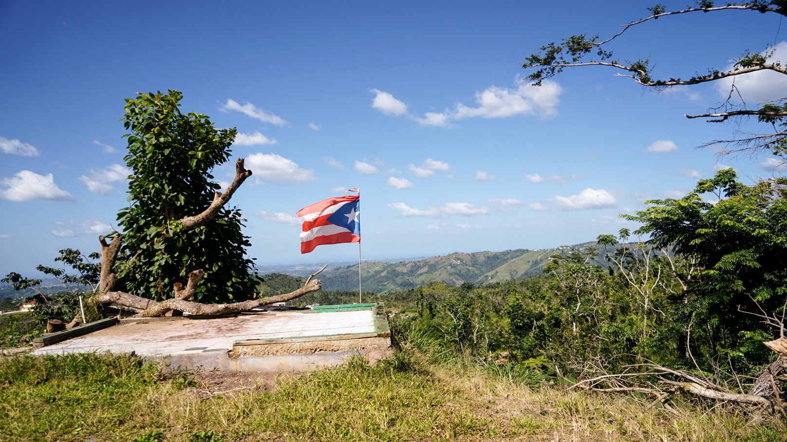 Puerto Rico's flag waves high over the community of Orocovis. (Tony Morain, Direct Relief)