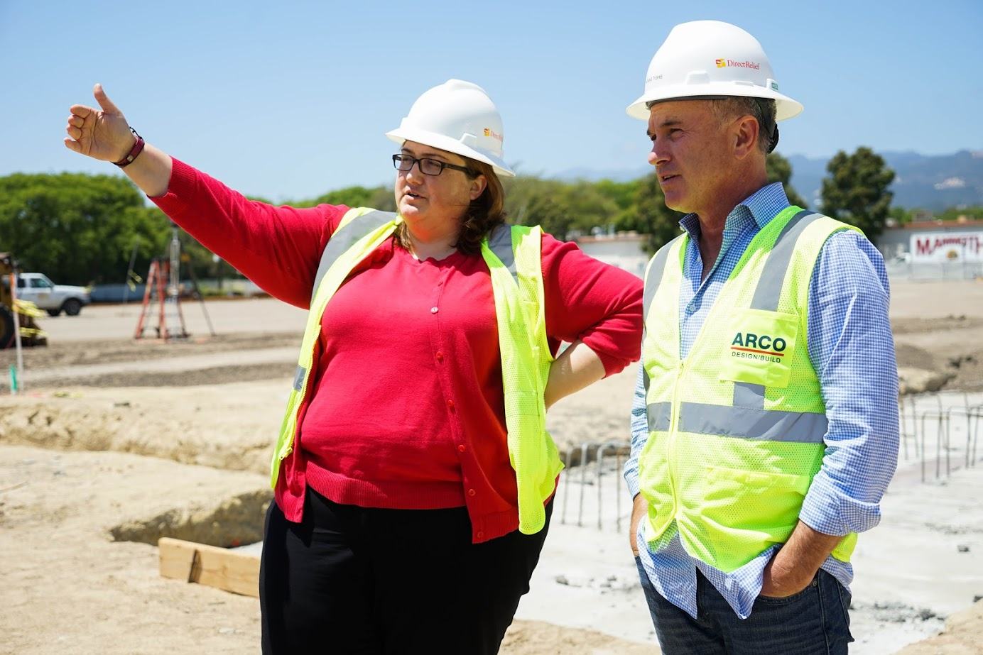 Abby Browning of CalOES gets tour of Direct Relief building site in May 2017.