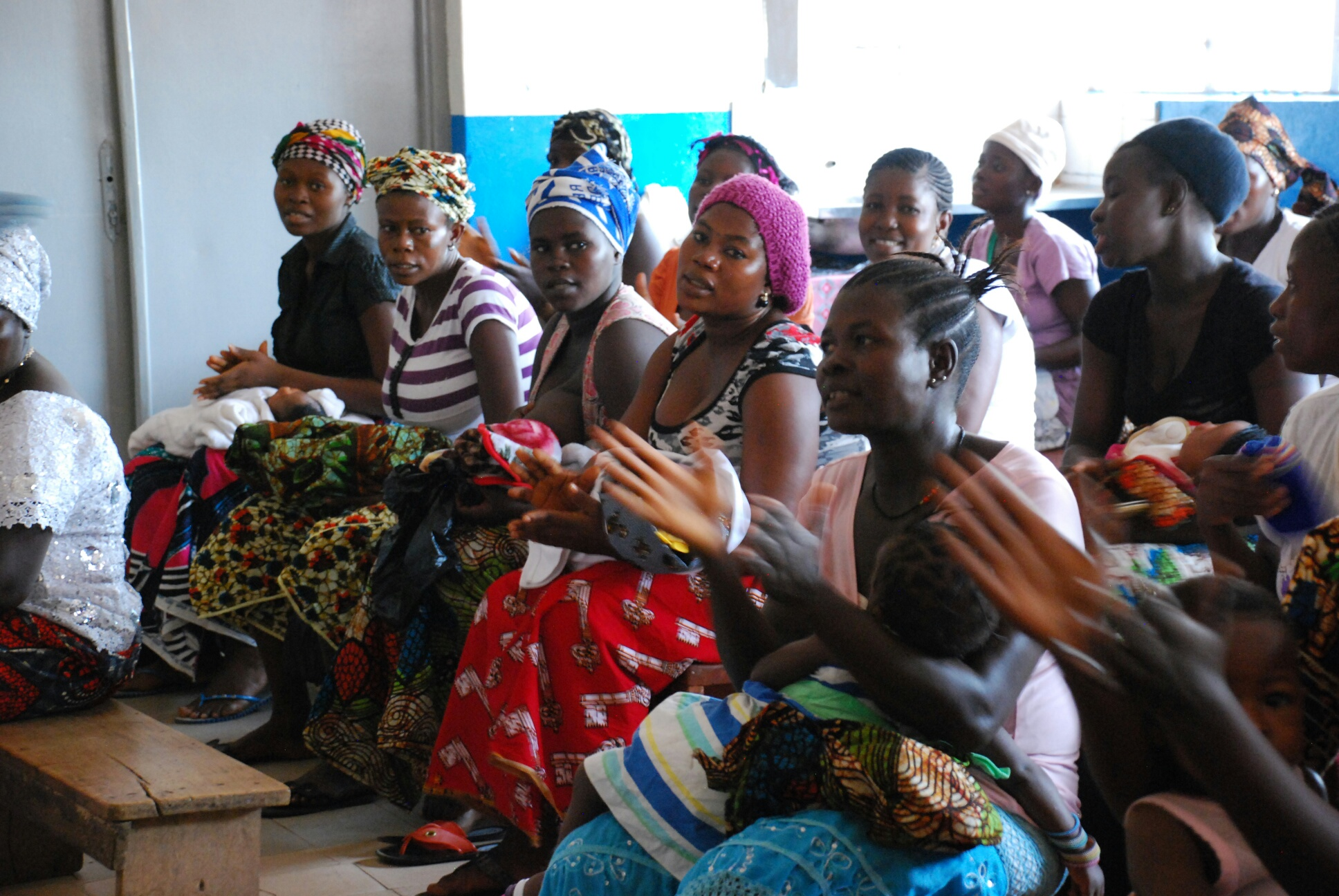 Women at a health center in Sierra Leone.