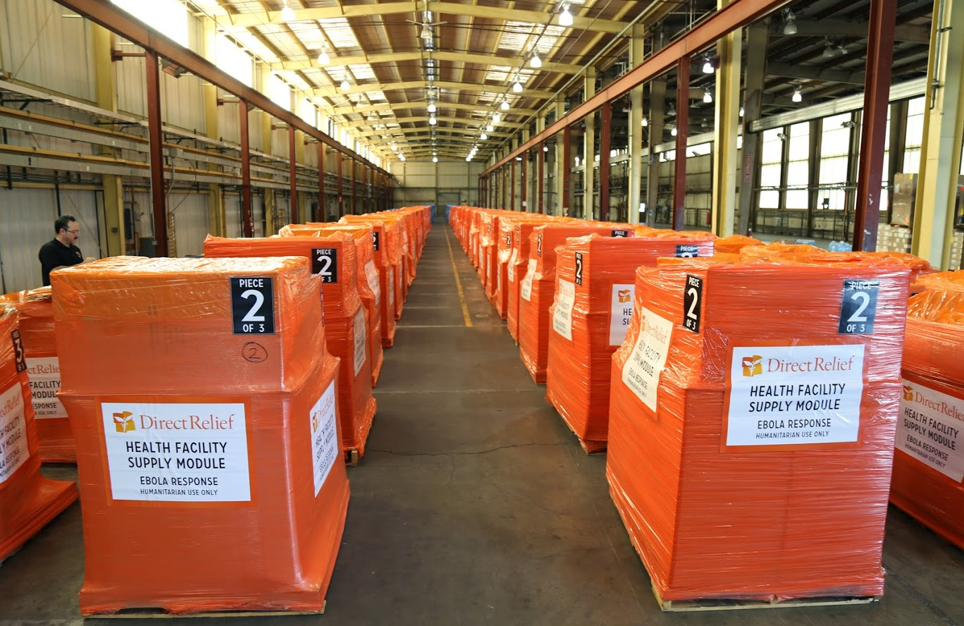 Emergency supplies are staged in Direct Relief's warehouse before being shipped to West Africa. (Direct Relief photo)