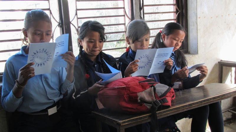 Primary ear care education is provided to all students and teachers during the week-long examination and evaluation. Children with basic ear problems are treated on campus and those requiring further treatment are referred to the Nidan hospital, located in the Lalitpur district. (Photo courtesy of Ear Care Nepal)