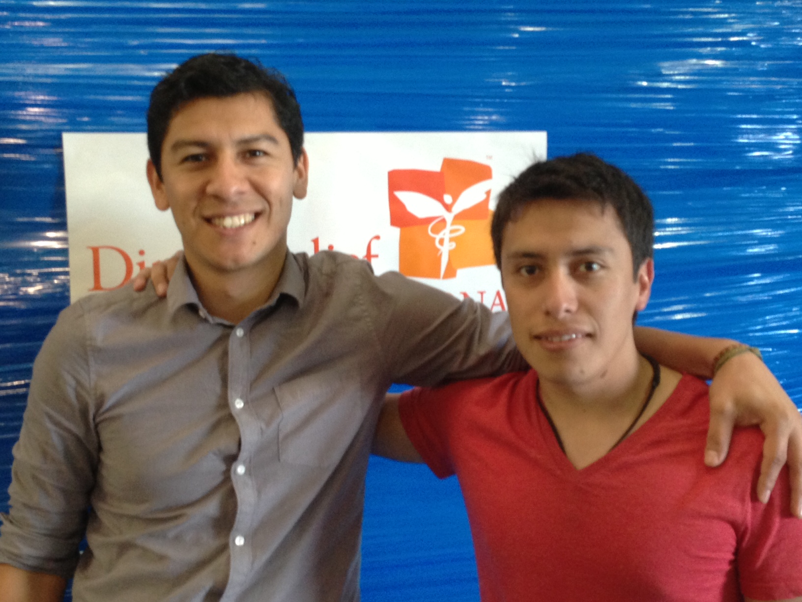 Direct Relief's Eddie Mendoza (left) with Daniel Munoz (right)