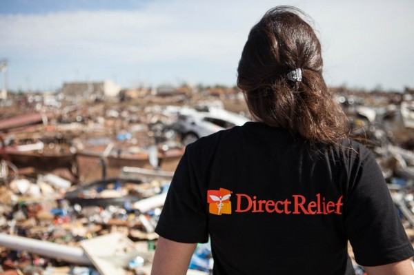 Direct Relief Staff Overlooks the Aftermath of an Emergency