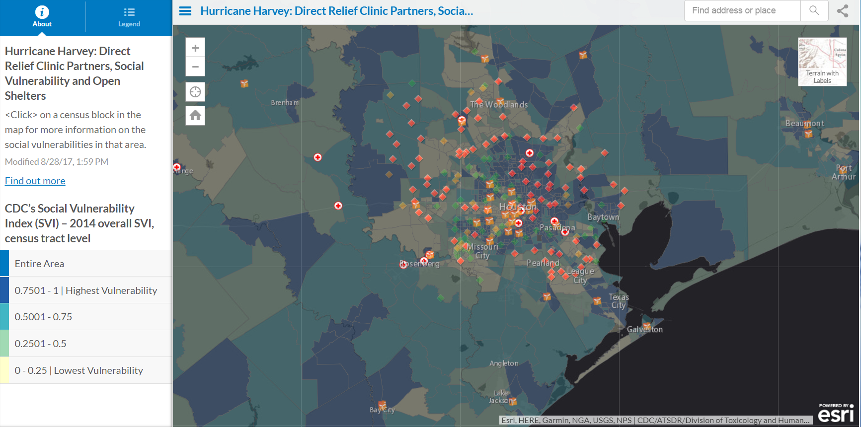 Click on the Hurricane Harvey map to view Direct Relief's health care partners, flood levels, social vulnerability and open Red Cross shelters in the Houston area. (Map by Andrew Schroeder/Direct Relief)