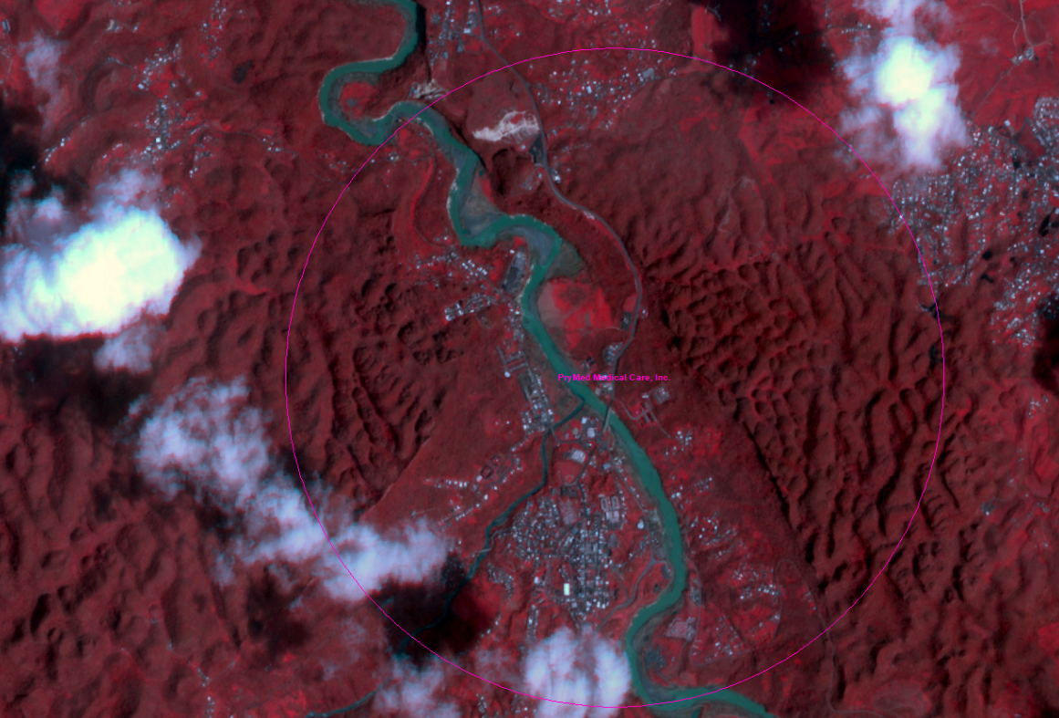 A false-color image highlighting water and vegetation areas near a community health center in post-Maria Puerto Rico (Source: Planet.com)