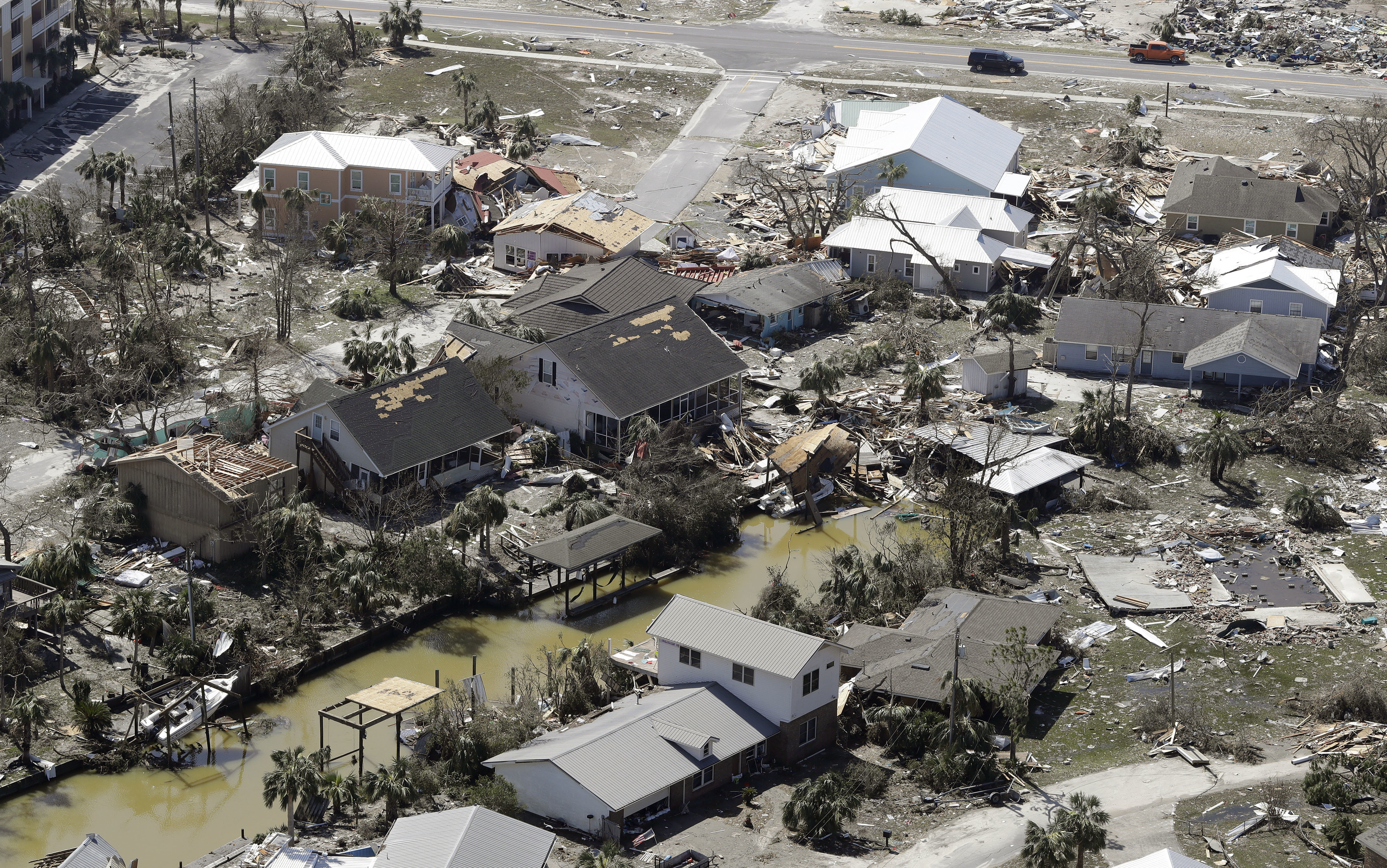 Debris from homes destroyed by Hurricane Michael litters the ground on October 11, 2018, in Mexico Beach, Florida. The hurricane hit the panhandle area with Category 4 winds, causing major damage. (Photo by Chris O'Meara/Getty Images)