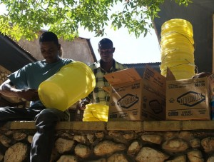 The bleach and buckets sent to HAS Haiti are being used to prevent further spread of cholera. Photo courtesy of HAS Haiti.