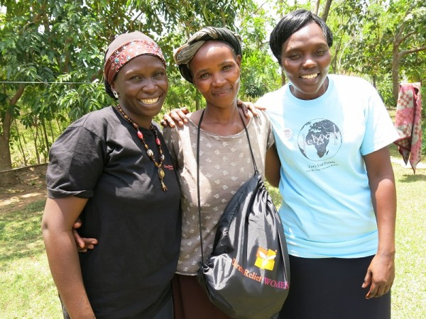 Habiba, Noreen, Pauline with Dignity Kit