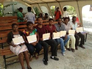 Haitian providers receiving their certificates.
