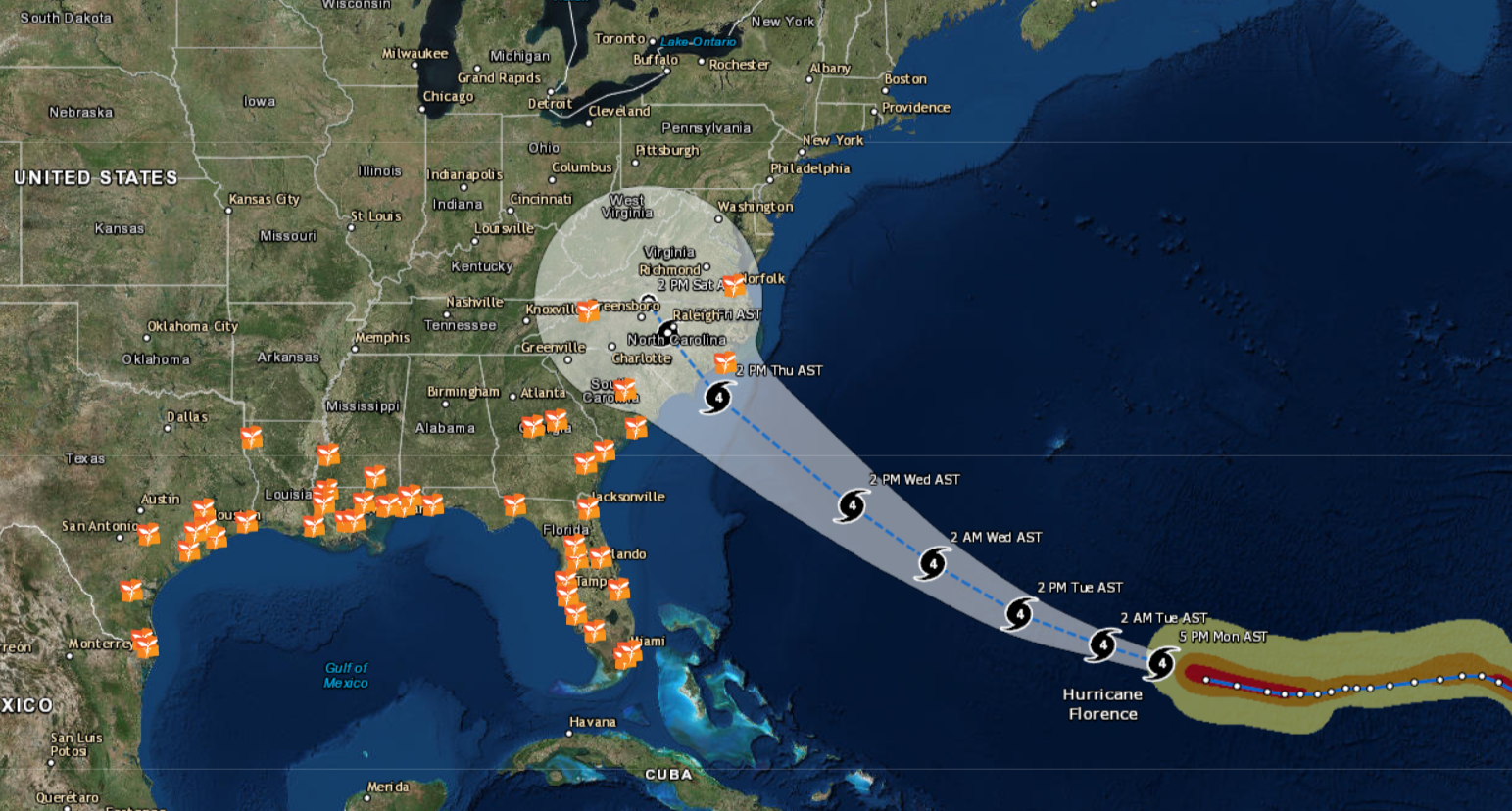 Click the Map Above to Follow Hurricane Florence's Track
