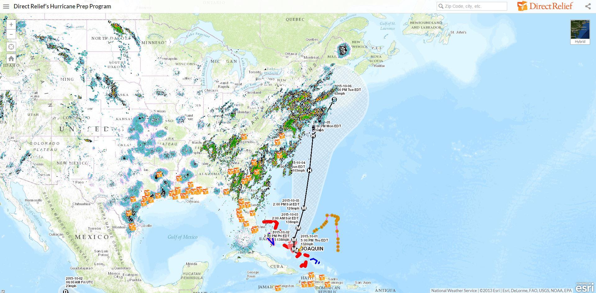 Hurricane Joaquin - Direct Relief Hurricane Map