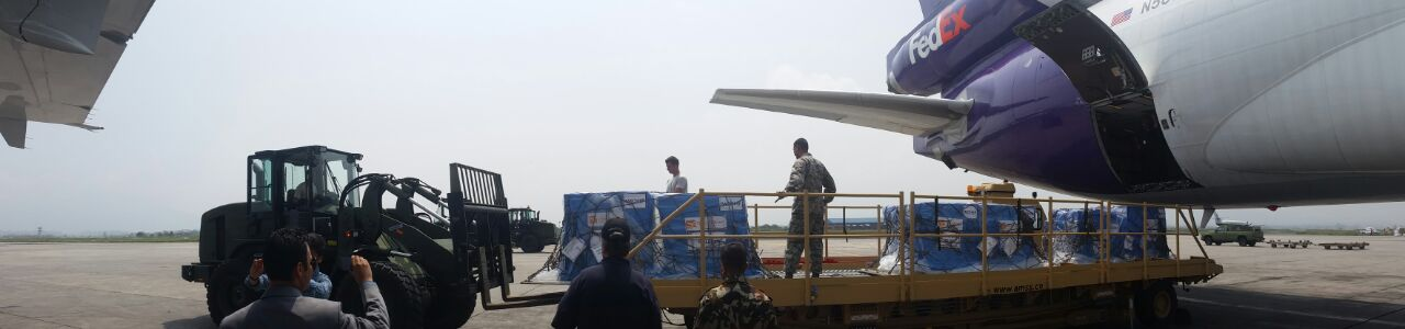 Pallets full of relief supplies for Nepal arrive in Kathmandu via FedEx.