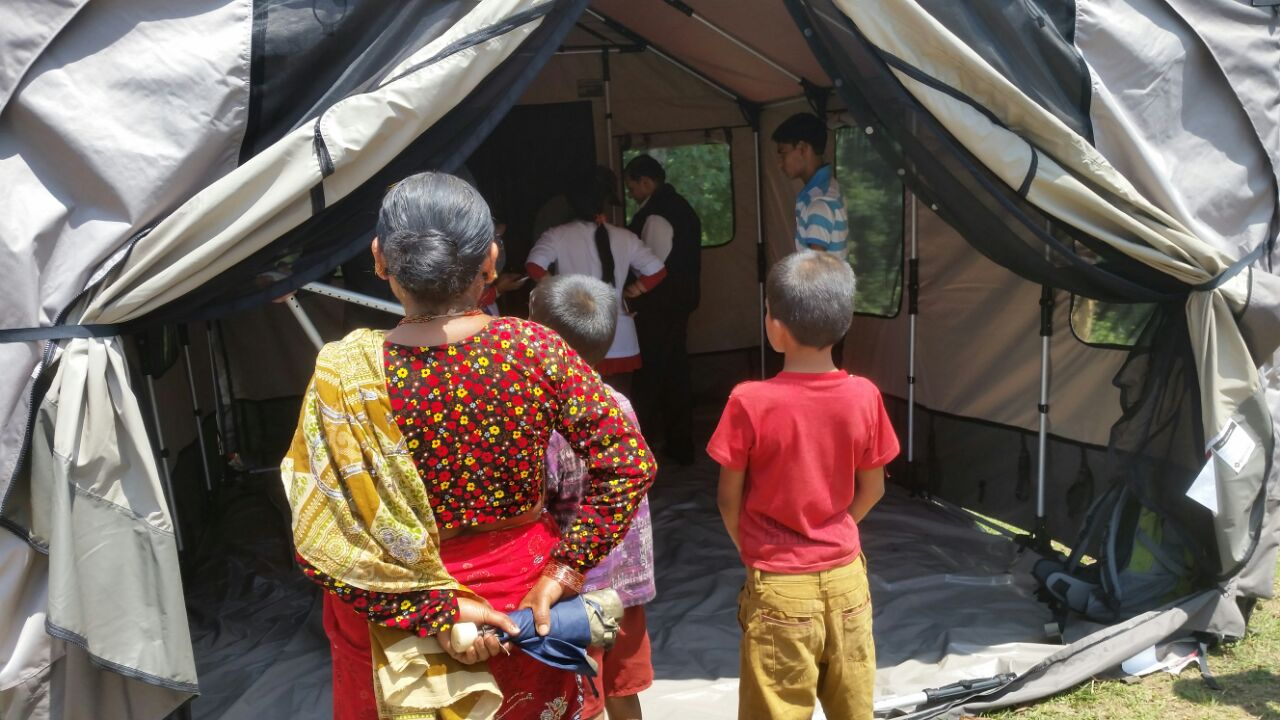 A birthing tent set up by Direct Relief