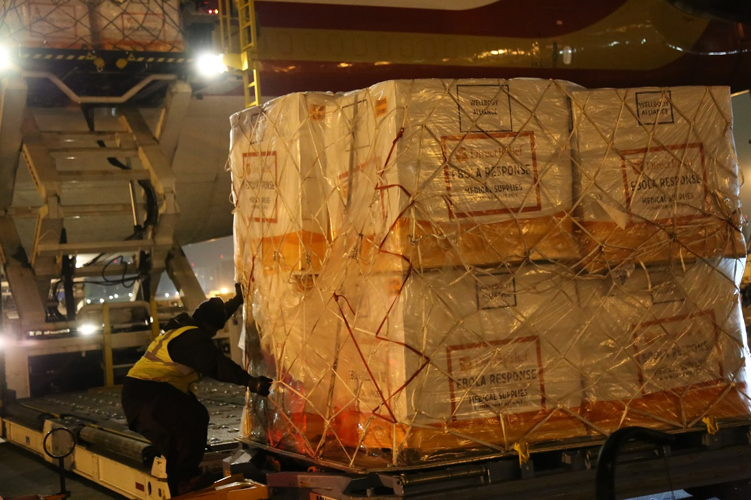 Pallets of Ebola supplies from Direct Relief loading onto 747 at Los Angeles International Airport, bound for Liberia and Sierra Leone.