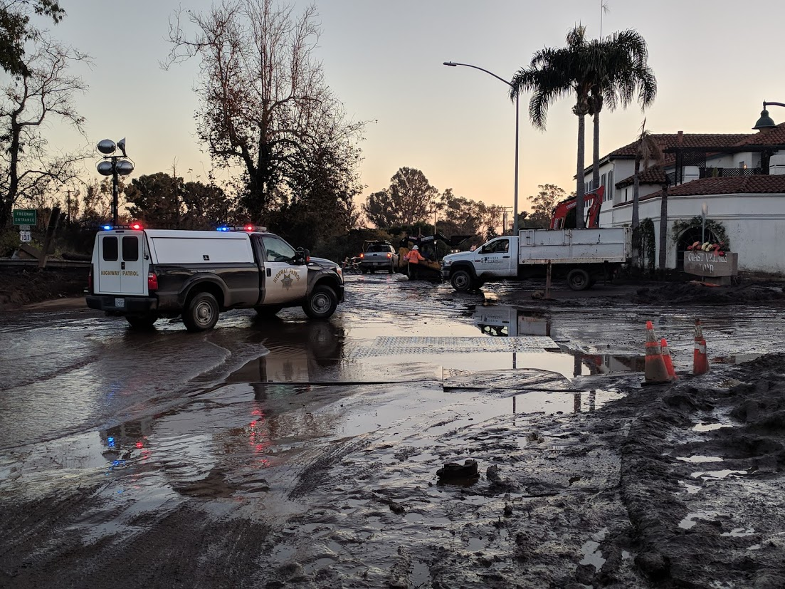 Crews work throughout Montecito to clean up mud and debris that flowed freely into the community on Jan. 9, 2018, with devastating consequences. (Tony Morain)