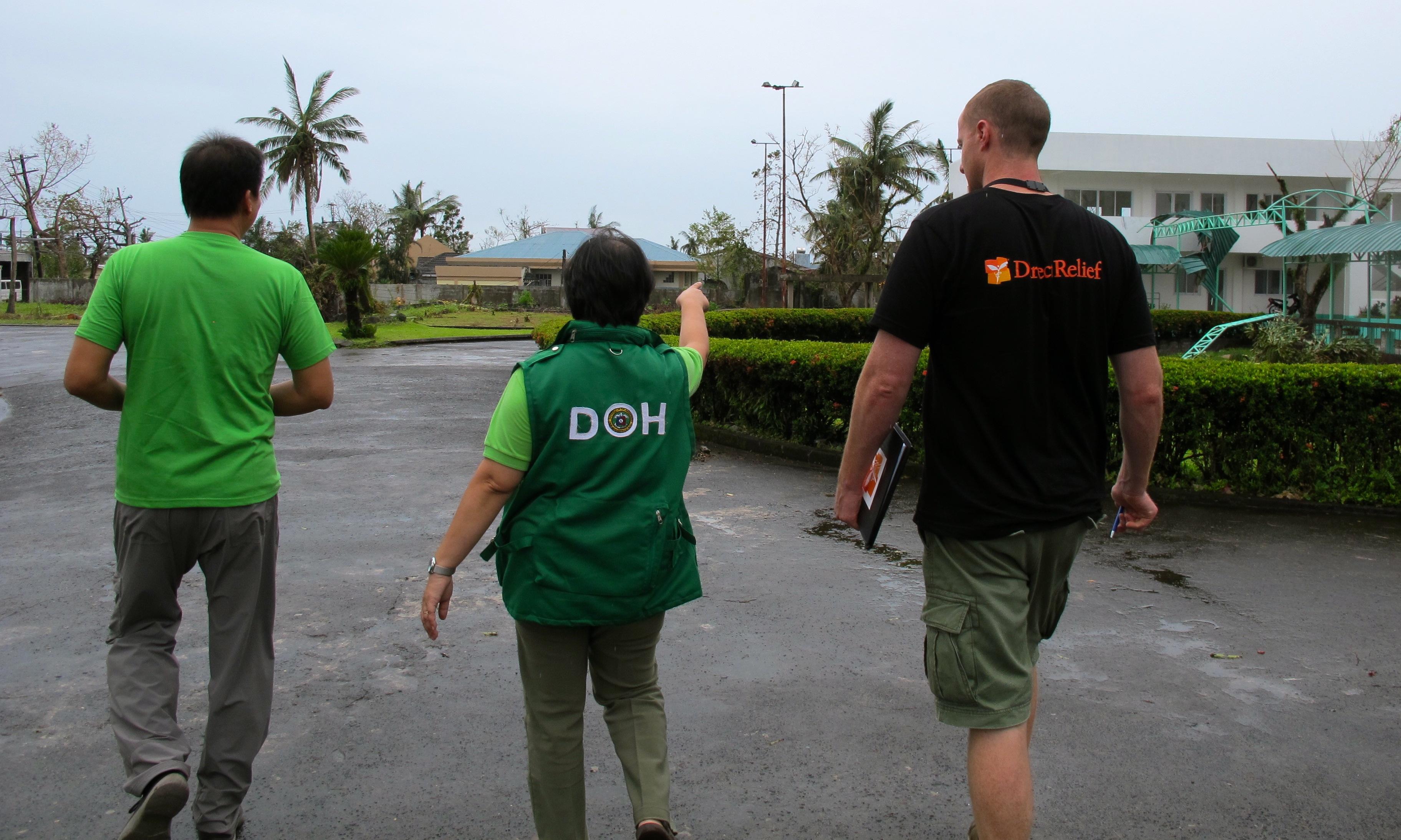 Inspecting typhoon damage