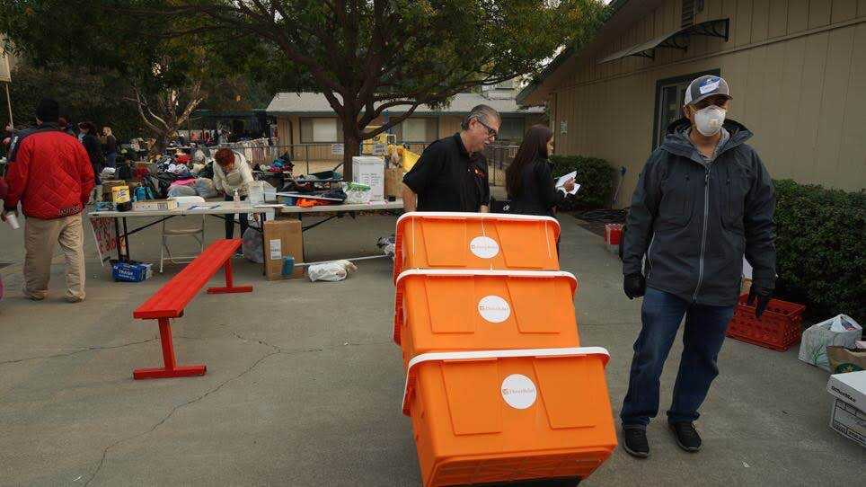 Medical aid is delivered to a shelter housing those displaced by the Camp Fire in Northern California on Nov. 14, 2018. (Dan Hovey/Direct Relief)