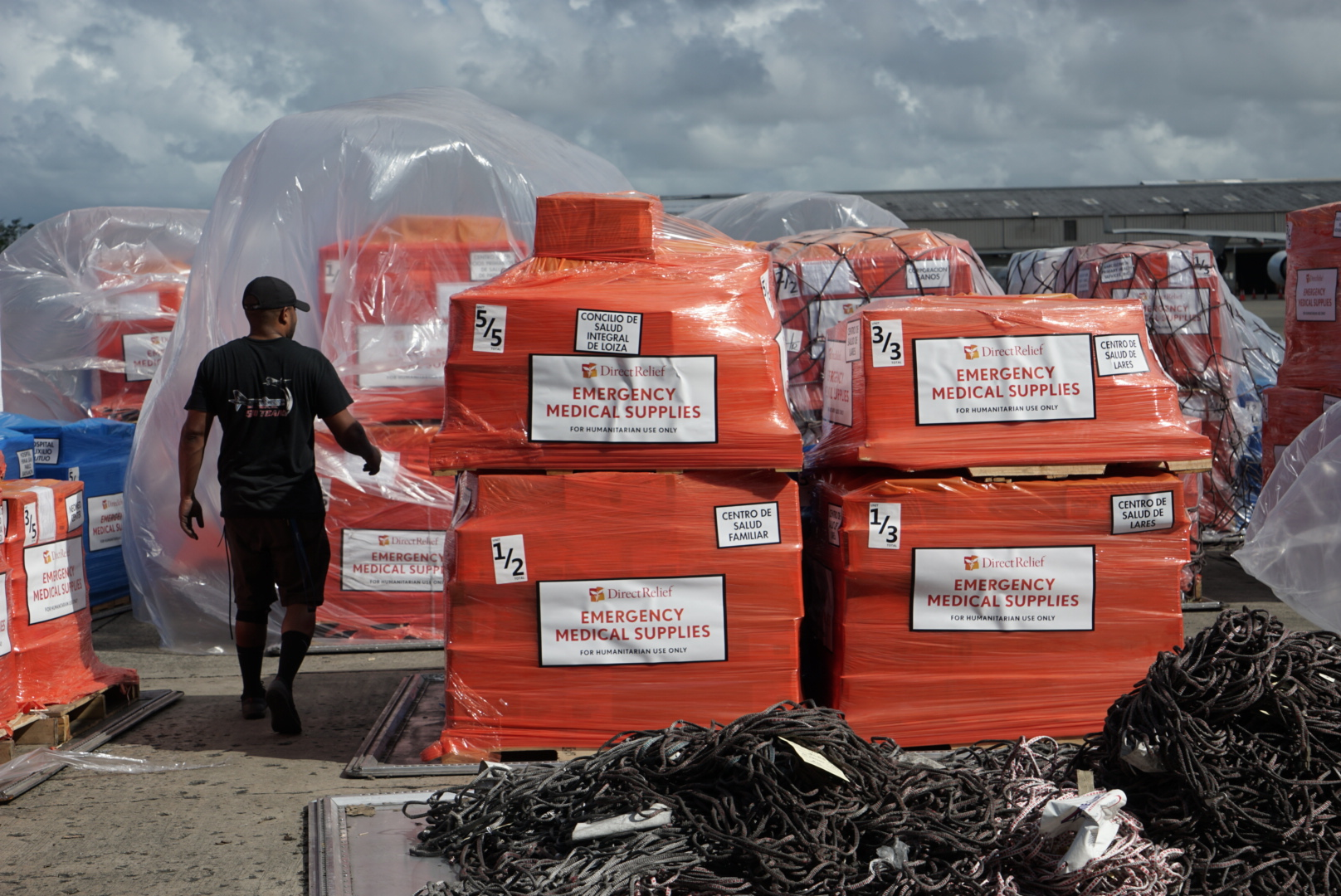 79,365 lbs of medications, nutritionals and medical supplies from Direct Relief arrive at the Luis Muñoz Marín International Airport in San Juan. (Photo: Lara Cooper)