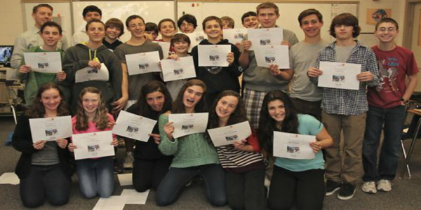 Milwaukee Jewish Day School students pose with their certificates.
