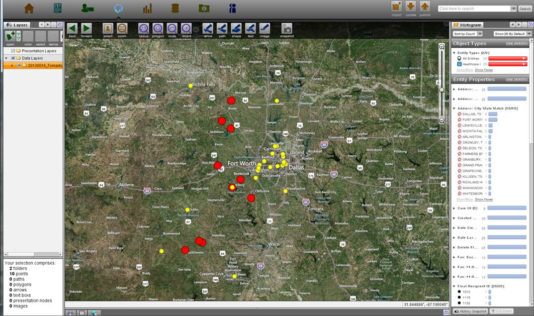 We've reached out to 17 of our 25  partners (yellow) located within 50 miles of tornado touchdowns (red). Image created in Palantir.