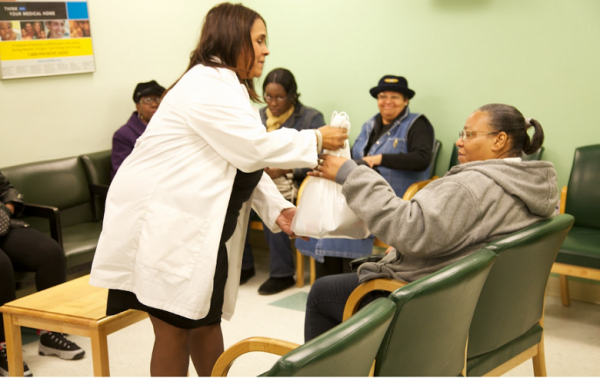 People affected by Hurricane Sandy received nutritional supplies at Newark Community Health Center on Tuesday.