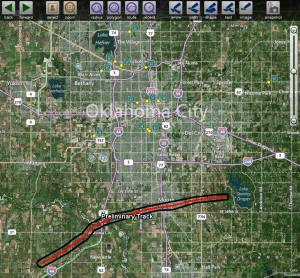 Tornado track through Oklahoma City area in relation to our partners.