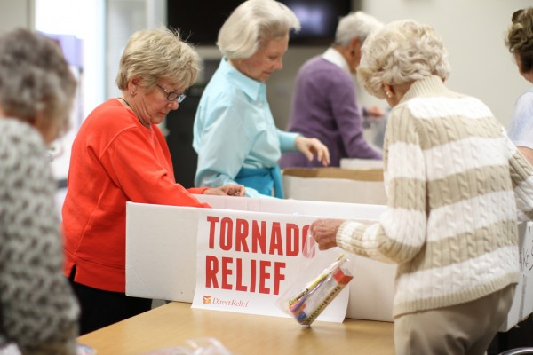 Senior volunteers from Casa Dorinda came to Direct Relief on Tuesday to help the organization's tornado relief efforts.