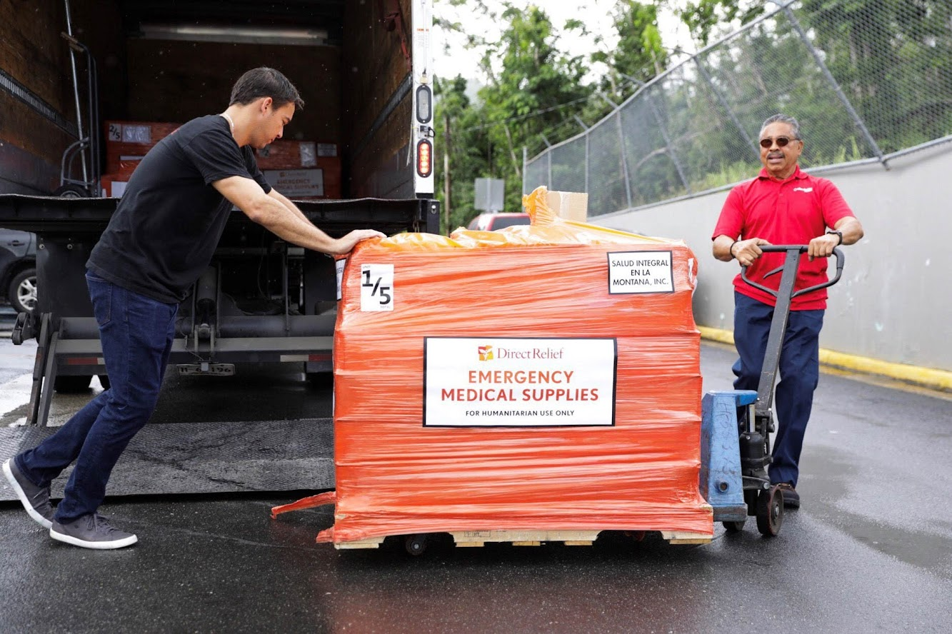 Emergency medical supplies arrive at the Salud Integral En La Montana Health Center in Puerto Rico. Direct Relief relies on donations of goods and services to deliver medicine and medical resources around the world. (Photo by Donnie Hedden for Direct Relief)