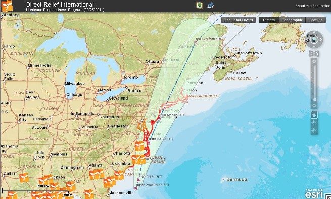 Hurricane Irene on Direct Relief's Interactive Hurricane Map