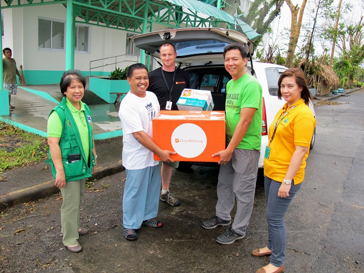 Distributing antibiotics to the Albay Provincial Health Officer.