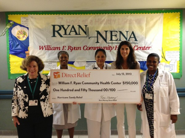 Direct Relief's Kerri Murray was on hand to present Ryan-NENA staff with a $150,000 grant to help their continued Superstorm Sandy recovery efforts.