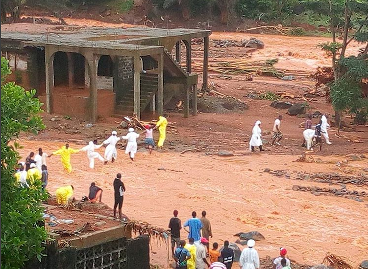 Search and rescue efforts continue on Monday in the aftermath of the devastating flooding in Sierra Leone. (Photo courtesy of MSF)