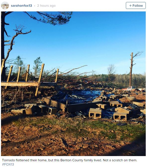 Home destroyed in Ashland, MS