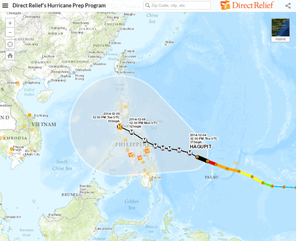 Typhoon Hagupit's trajectory in relation to Direct Relief's partners (shown in orange).